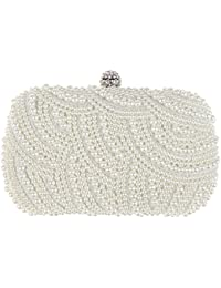 Rrimin Handmade Beaded Pearl Evening Bag Clutch Crystal Purse Party Wedding Off-white Bag