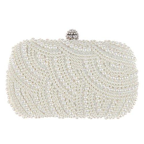 Amazingdeal365 Luxus Damen Abendbörse Satin Hochzeit Party Handtasche Elegant Weiß Perlen Strass Perlen Strass Perlen Hardcase Clutches Bag - Perlen Clutch Tasche