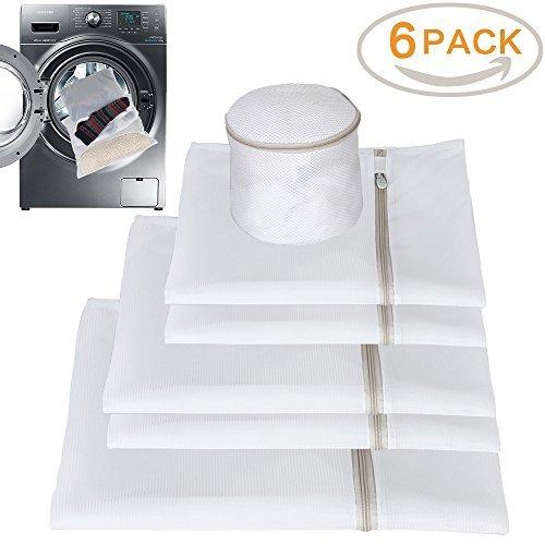 Qozary Netz-Wäschesack für Kleidung, Feinwäsche, Unterwäsche, Socken, Messing 6er Set (Small 2, Medium 2, Large 1, Zylinder1), weiß, 26,4 x 21,6 x 5,1 cm
