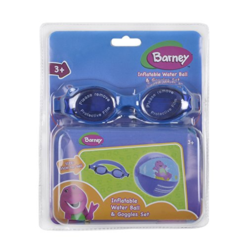 Barney Swimming Accessories Pack Blue Inflatable Water Beach Ball Goggles Set