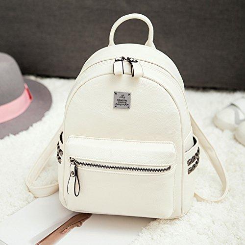 LiZhen Double-borse tracolla femmina pu coreano moda singoli wild tempo libero Mini Bundle Ms. nuove ondate di zaino nero Bianco