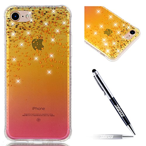 iPhone 7 Coque en Silicone Bling,iPhone 7 Etui Tpu Transparent,JAWSEU Brillante Glitter Sparkle Étoiles Paillette Diamant Strass Case Cristal Clair Flex Soft Tpu Coque Housse élégant Beautiful Mode Mo or