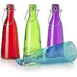 Botella de cristal con asa (10x29) 4 colores, capacidad 1 l. - Verde