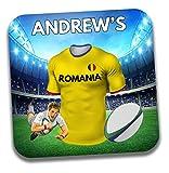 Cadeau personnalisé-Roumanie Maillot de rugby sur le thème Dessous-de-verre à bière/mat-Cadeau d'anniversaire-Cadeau