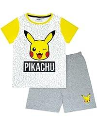 Breve Pijamas de Pokemon Pikachu Cara Gris del Amarillo del Muchacho