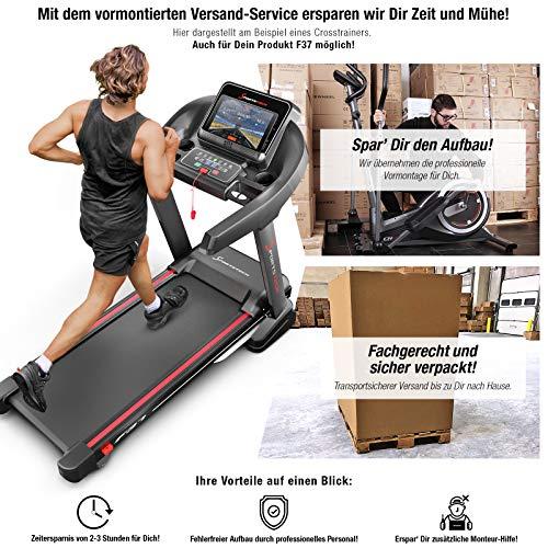 Sportstech F37 Profi Laufband 7PS bis 20 km/h, Selbstschmiersystem, Smartphone Fitness App, 15{c6cf9a6507ec5957ca706a567dde275eca01a4ca538c16348b0d828affd48db3} Steigung, Bluetooth MP3, große Lauffläche mit 8 Zonen Dämpfungssystem bis 150 Kg klappbar