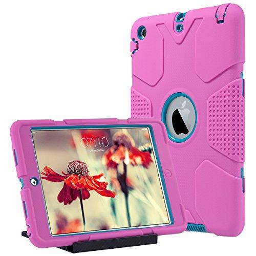 Shockproof Mini Cover Ipad (ULAK iPad Mini Hülle, iPad Mini 2/3 Hülle 3in1 Hybrid Case Cover Hochleistungs Shockproof Kickstand Abdeckung Fall für iPad Mini/iPad Mini 2/iPad Mini 3 (Hot Pink + Blau))