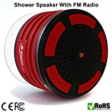 iFox - iF013 Bluetooth Shower Speaker with FM Radio - Certified Waterproof and Wireless Pairing to All Bluetooth Devices for iPhone, iPad, iPod, PC - Red/Black