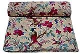 Ramdev Handarbeitsstoff, Sanganeri-Druck, cremefarben, Basis 111,8 cm breit, Vogel- und Blumendruck, bedruckt, 100% Baumwolle