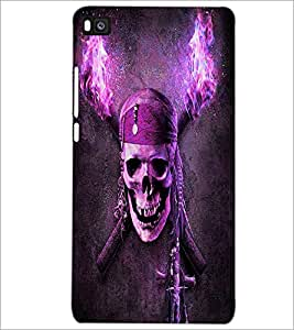 PrintDhaba Pirate's Skull D-6066 Back Case Cover for HUAWEI P8 (Multi-Coloured)