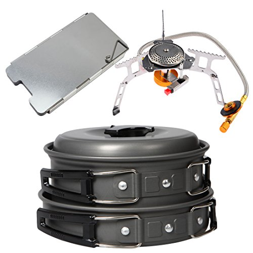 Camping Stoves, iTECHOR Outdoor Camping Hiking Picnic Cookware Portable Folding Split Style Gas Stove and Cookware Durable and Non-stick Pan Pot Bowl,Piezo Ignition Kit, Wind Screen Windshield
