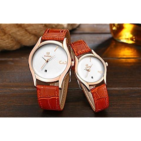 Tiannbu 1paio/2pc Tiannbu ultrasottile in pelle Fashion romantici polso orologi, regalo di natale