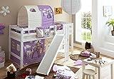 Spielbett mit Podest und Rutsche Tino, Buche weiß, 90 x 200 cm, Pferde lila