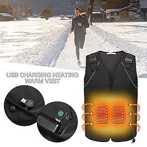 AXZXC USB Elektrische Heizweste Powered Winter Elektrische Weste Powered by USB Leichte Thermoweste Mit Temperaturregelung,M