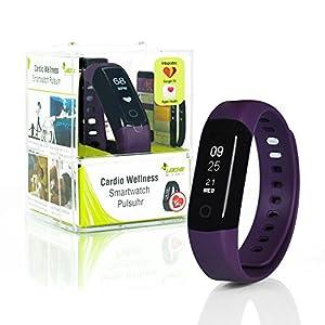 Wellsmart Cardio Ads Smartwatch Fitness Armband Tracker Schrittzähler Herzfrequenz Pulsuhr Schlafüberwachung Wasserdicht bis 30 m Deutsche App AOK Plus Bonus, IOS und Android kompatibel