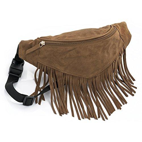 Light Brown Suede Look Tassel Bum Bag Fanny Pack Festivals Holiday Wear