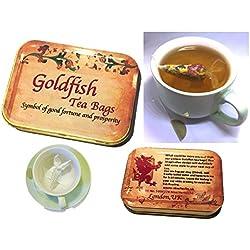 Personalisierte Geschenkbox, 4Goldfish Teebeutel, Earl Grey & Rosenblätter, viel Glück Geschenk, Tea Party, Neuheit Geschenk, Creative Teebeutel, personalisierbares Geschenk mit Ihrer Nachricht