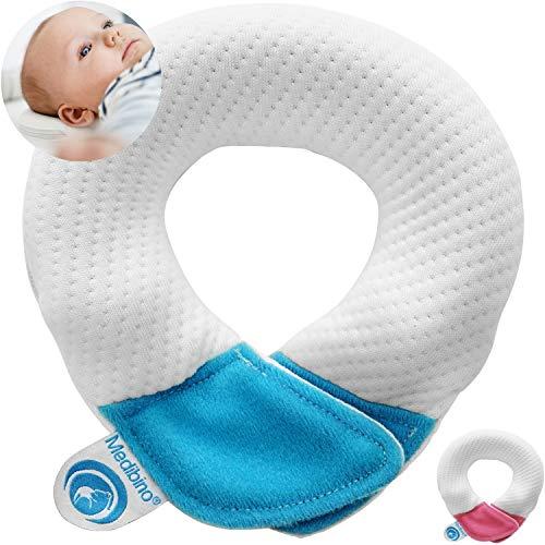 Medibino Babykissen gegen Verformungen, Plattkopf, Flachkopf   Von Medizinern entwickelt + Orthopädisches Kinderkissen + für eine natürlich schöne Kopfform   Blau