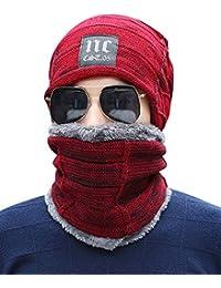 ZiXing Uomo Berretto Invernale Caldo Cappello Sciarpa Set Sciarpa Spessa  Maglia Pile Foderato 3d73ebd67783