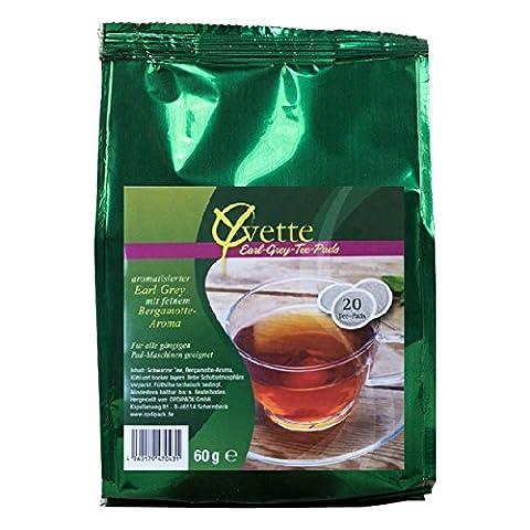 Yvette Earl Grey Teepads, Teebeutel, Schwarzer Tee, auch für Senseo, 12 x 20 Pads