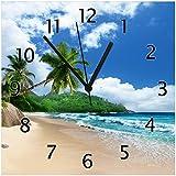 Wallario Glas-Uhr Echtglas Wanduhr Motivuhr • in Premium-Qualität • Größe: 30x30cm • Motiv: Urlaub auf den Seychellen unter Palmen am Sandstrand