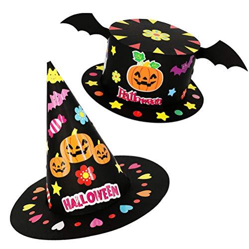 Amosfun 4 Stücke DIY Halloween Hüte Kürbis und Fledermaus Schwarz Halloween Hut Halloween Kostüme Kinder Party Dekoration Kinder Hüte