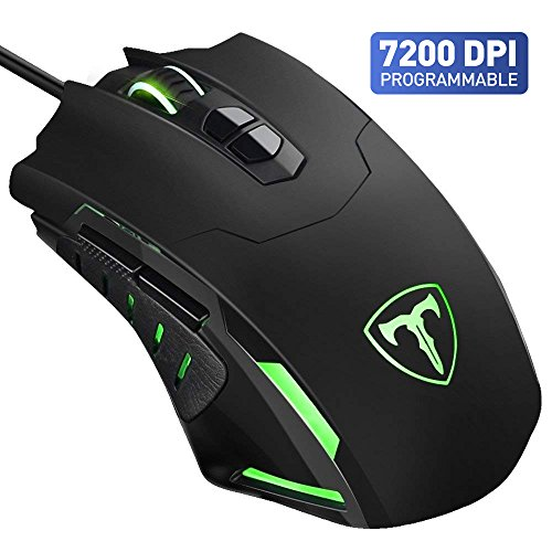 Gaming Mouse, VicTsing 7200 DPI Programmable 7 Buttons Professional Wired Gaming Mice PC Computer Laptop Mouse with 16 Million LED Color Definition, 5 DPI Adjustable Level, 4 Polling Rate Support Macro Editor for Pro Gamer Win 10/8/7/XP- Black