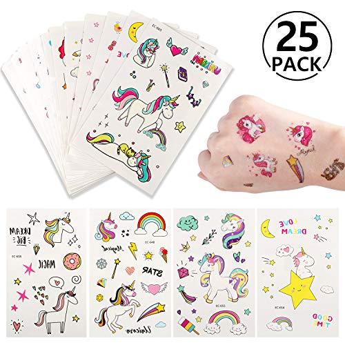 Yosemy tatuaggi temporanei per bambini,tatuaggi finti temporanei adesivi 300+ motivi,per la festa di compleanno favori di partito e compleanni(tatuaggi all', 25 fogli)