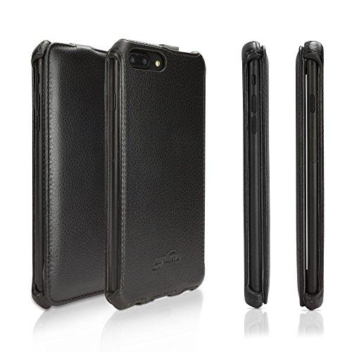 Apple iPhone 8Plus Schutzhülle, BoxWave® [Leder Flip Fall] Slim Synthetik Leder Hard Case mit weichem Innenfutter für Apple iPhone 8Plus-Nero Schwarz Vertical Slim Case