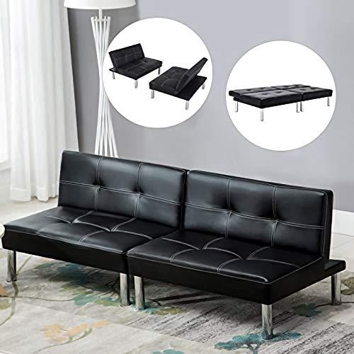LAGRIMA Leder Sofabett Sofa Couch Schlafcouch Schlafsofa Bettsofa in schwarz