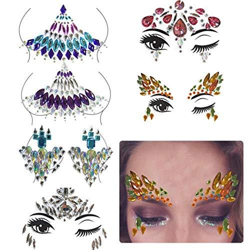 ween Face Jewels Glänzende Kristall Gesichtsaufkleber Mit Edelstein ()