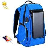 Docooler Mochila Solar, Bolsa de Camping con Panel Solar Azul, Juventud Estudiante Masculino al Aire Libre de Viaje USB Solar de Carga a Prueba de Agua Mochila Transpirable
