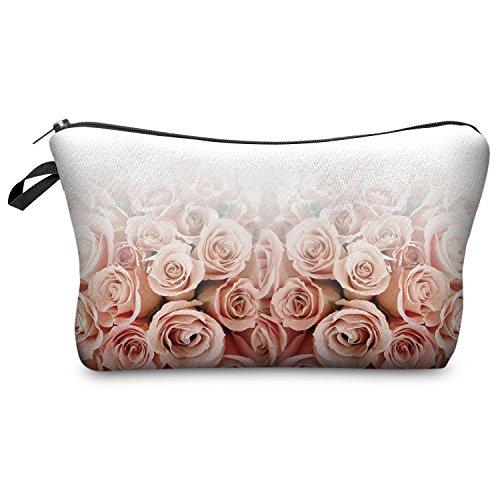 Kosmetiktasche Federmappe Mäppchen Tüte Beutel Zipper Kulturbeutel Make Up Bag Reißverschluss Full Print All Over Kosmetiktüte (Roses Ombre) (Make-up-beutel)
