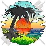 """Tropical Sunset Exotic vacaciones, palmera 140mm (5,5"""") Protector de vinilo, adhesivo"""
