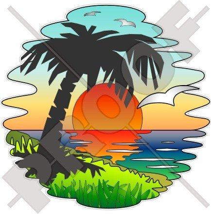 Tropical Sunset exotischen Urlaub, Palme 140mm (139,7cm) Vinyl Bumper Aufkleber, Aufkleber