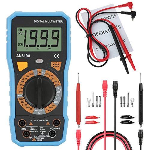 Akozon Digital Multimeter ANENG AN819A Spannung Strom Widerstand Meter Temperatur Tester AC/DC Spannung Meter- NVC-16 Test-Sonde Krokodilklemme Test führt(Blau Mit 16 in 1 Kombinationslinie)