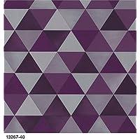 Gráfica vivo geométrico triángulos, calidad papel pintado, acabado suave fácil para colgar libre Pasta con cualquier papel pintado compra y entrega gratuita (color morado)