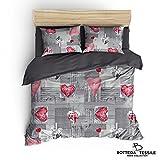 BOTTEGA TESSILE Parure copripiumino stampato matrimoniale - 250x200 cm - Tessuto microfibra mano cotone - linea: Digitale - modello: Clarisse - colore: grigio
