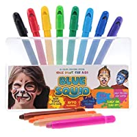 Blue Squid Face Paint Pens for Kids | 12 Colour No Mess Twistable Crayons Sticks | Best Quality Body Painting Set | Vibrant Water Based Non-Toxic FDA Approved |+Bonus Online Guide