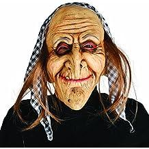 Maschera strega Mascherina donna anziana con fazzoletto e capelli -