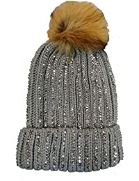 5ba4eee2775 KGM Accessories Luxury Knitted Diamante bobble hat with Faux fur pom Grey
