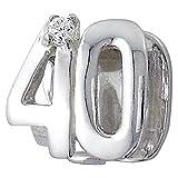 So Chic Gioielli - Charm Compleanno 40 Anni Ossido di Zirconio Bianco Argento Sterling 925 - Compatible con Pandora, Trollbeads, Chamilia, Biagi