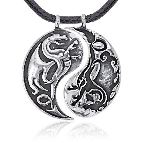 Llords Schmuck Yin Yang Drachen Anhänger Halskette, feinster Zinn Metall Modeschmuck