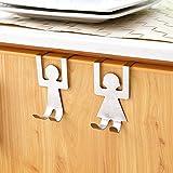 gnrjgs Edelstahl Kleidung Coat Hat Handtuchhalter Rack Kleiderbügel über Schrank Tür Doppelhaken für Büro Badezimmer Küche