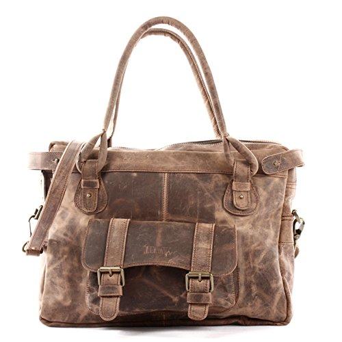 LECONI Henkeltasche Echtleder Damentasche Vintage Look Schultertasche natur Damen Ledertasche Frauen Handtasche Leder 38x29x11cm LE0050, Schlamm - Waxy, L -