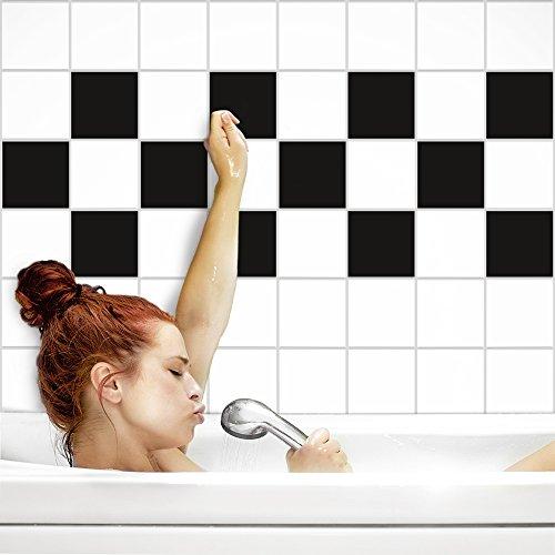 Fliesenaufkleber für Küche und Bad | Fliesenfolie für 15x20cm Fliesen | einfarbig schwarz matt | 152 Stück | Klebefliesen günstig in 1A Qualität von PrintYourHome