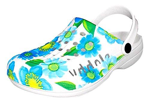 Damen Clogs Pantoletten mit Muster Geeignet für Freizeit Arbeit und als Hausschuhe, Moderne Gartenclogs mit Bunten Motiven Gr. 36-41 (39, Blumen Blau/Gelb)