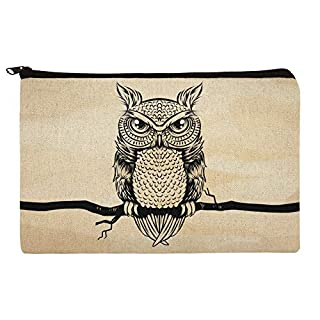 Artsy Owl Perched on Tree Branch Makeup Cosmetic Bag Organizer Pouch