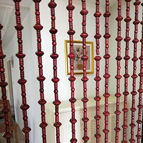 4-panel-holz-türen (GuoWei Perlenvorhang Türvorhang Holz Tür Panel Wohnzimmer Schlafzimmer Raumteiler Dekor Rustikal, Anpassbar (Color : A, Size : 27 strands-60x195cm))