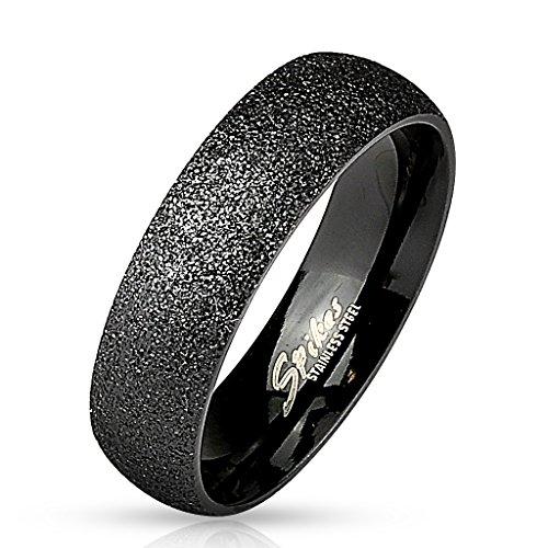 Paula & Fritz Sand Glitzer 6mm breit Damen-ring Verlobungs-ring Freundschaftsring Herrenring Partnerring Edelstahl Chirurgenstahl 316L schwarz 66 (21)